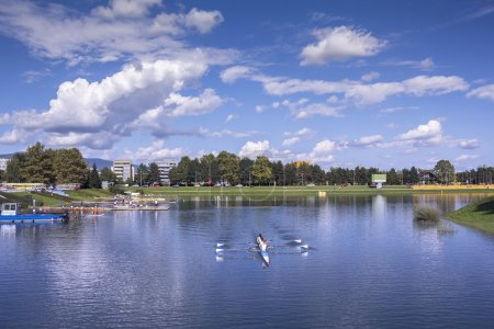 Training rowing on the lake Jarun