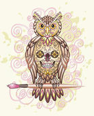Owl with Mexican skull