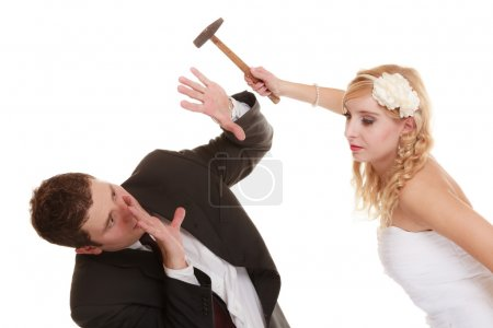 Wedding couple having argument