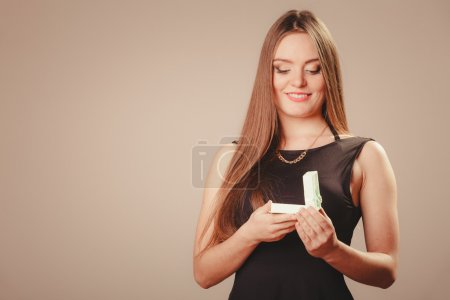 Beauty woman with present