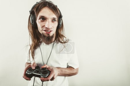 Happy man playing games