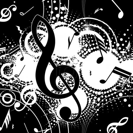 Illustration pour Composition musicale abstraite sur fond noir, illustration vectorielle - image libre de droit