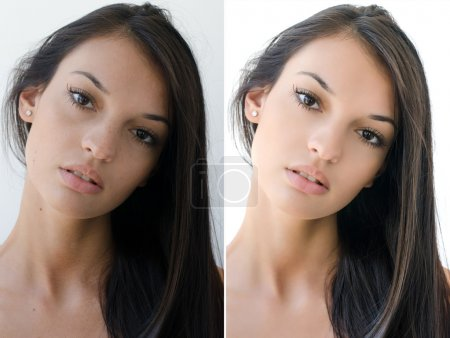 Portrait of a beautiful brunette girl before and after retouching with photoshop.