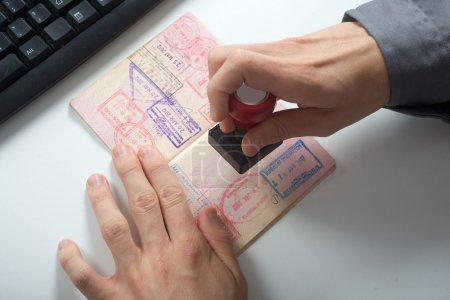 Immigration control officer will arrival stamp in ...