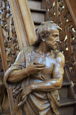 Pulpit in of gothic church Onze-Lieve-Vrouw-over-de-Dijlekerk. Mechelen, Belgium