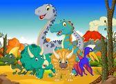 Kreslené vtipné dinosaura s pozadím krajiny sopka