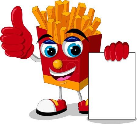 Illustration pour Illustration vectorielle de pommes de terre frites dessin animé pouce vers le haut avec signe vierge - image libre de droit