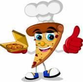 Cute pizza cartoon thumb up