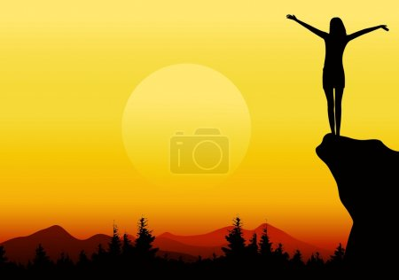 Illustration for Vector illustration of silhouette of a girl with raised hands on mountain - Royalty Free Image