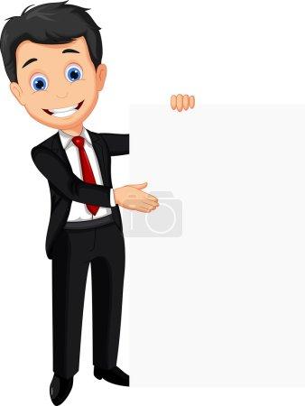 Illustration pour Illustration vectorielle de dessin animé homme d'affaires tenant signe vierge - image libre de droit