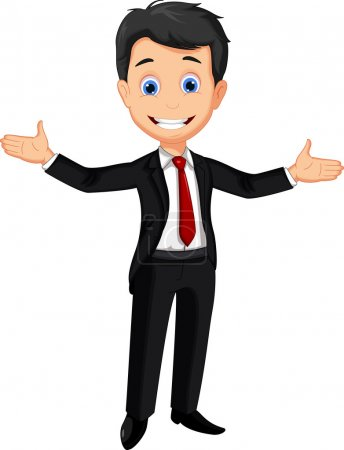 Illustration for Vector illustration of business man cartoon presenting - Royalty Free Image