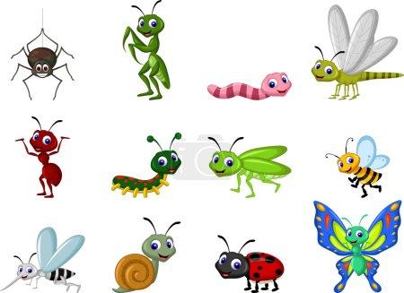 Illustration pour Illustration vectorielle de collection mignonne d'insectes - image libre de droit