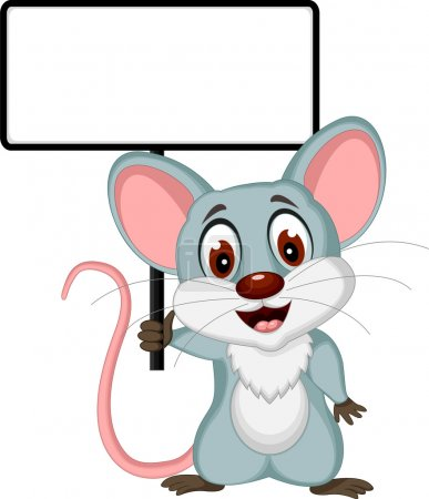 Mouse cartoon posing with blank sign