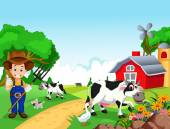 Farm background with farmer and animals
