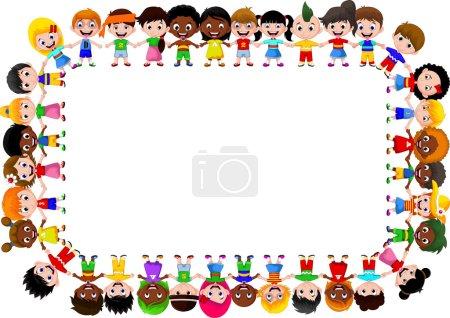 Photo pour Illustration vectorielle d'enfants heureux différentes races - image libre de droit