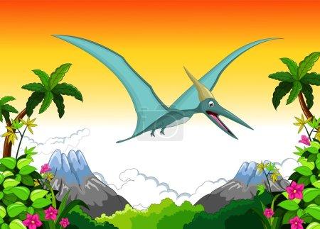 Vector illustration of Happy pterodactyl cartoon f...