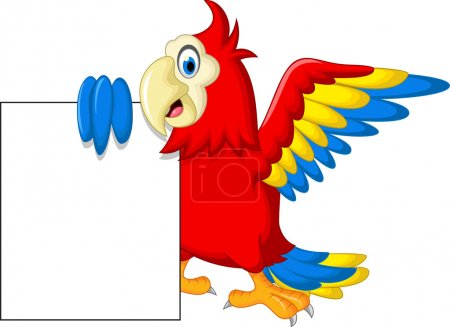 Macaw bird with blank sign