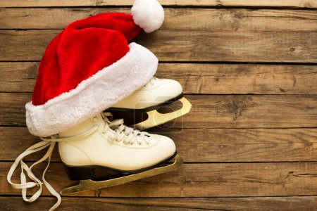 skates and Christmas Santa hat