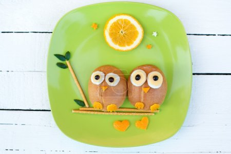 Photo for Cute breakfast for the kids in two cute owls shape - Royalty Free Image