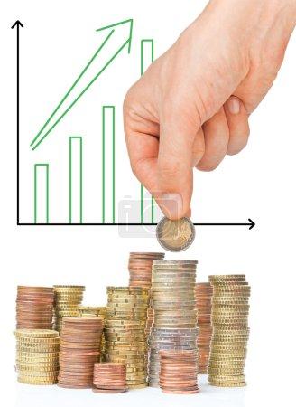 Photo pour Money investment concept with bar graph isolated on white - image libre de droit