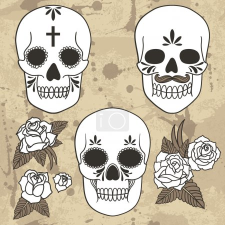 Illustration for Day of the dead. Set of skulls. Vector illustration. Grunge background with drops and splashes - Royalty Free Image