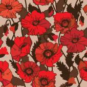 Papaver rhoeas seamless pattern Vector illustration