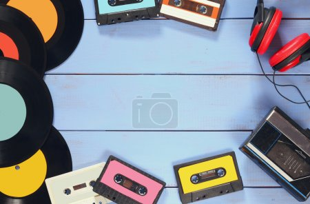 cassette, headphones, records and old tape playe