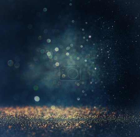 Photo for Glitter vintage lights background. gold, silver, blue and black. de-focused. - Royalty Free Image