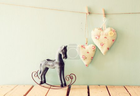 Rocking horse and fabric hearts