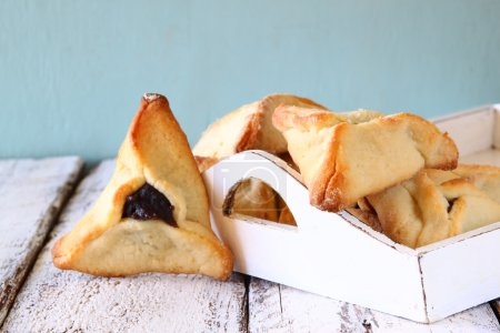 Hamantaschen cookies or hamans ears Purim celebration (jewish carnival holiday). selective focus