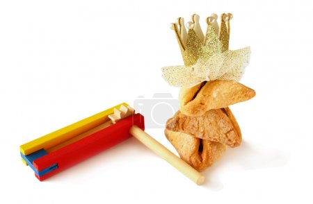 Purim celebration cookies (jewish carnival holiday). selective focus. isolated on white