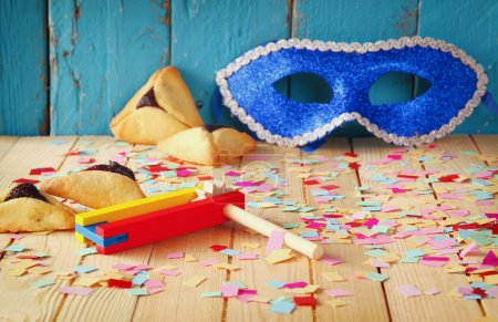 Purim celebration concept (jewish carnival holiday). selective focus