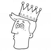 black and white cartoon kings head