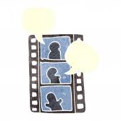3d man with cloud of media application Icons on a white background The film strip