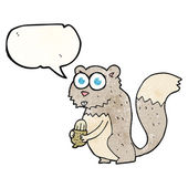 texture speech bubble cartoon angry squirrel with nut