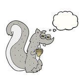 thought bubble cartoon squirrel with nut