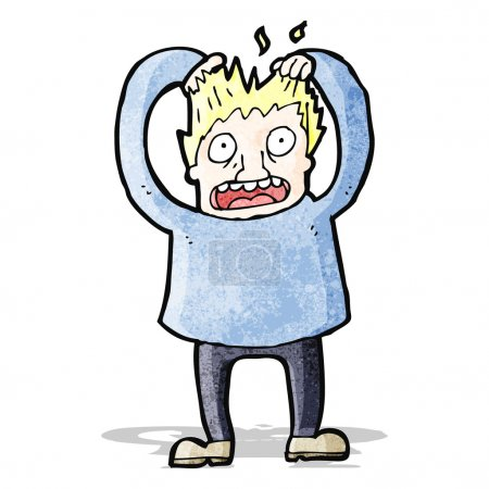 Illustration for Cartoon stressed man tearing own hair out - Royalty Free Image