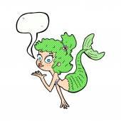 cartoon pretty mermaid with speech bubble