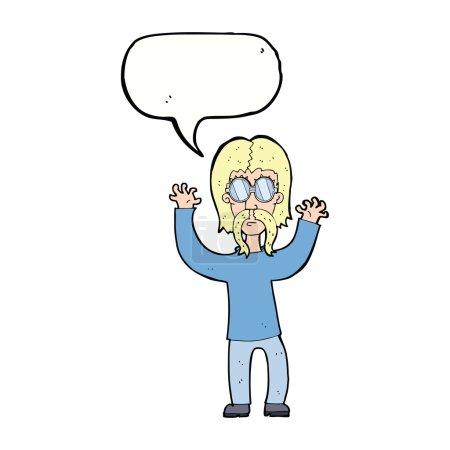 cartoon hippie man waving arms with speech bubble