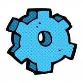 Retro comic book style cartoon cog symbol