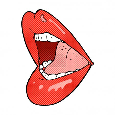 Illustration for Retro comic book style cartoon open mouth - Royalty Free Image