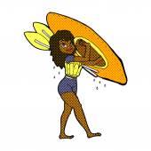 Retro comic book style cartoon woman carrying canoe