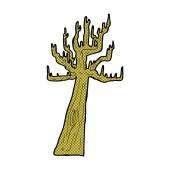 Old bare tree retro comic book style cartoon