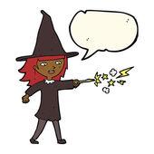 Kreslený čarodějnice dívka casting kouzla s balónem