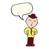 Cartoon man wearing hat with speech bubble