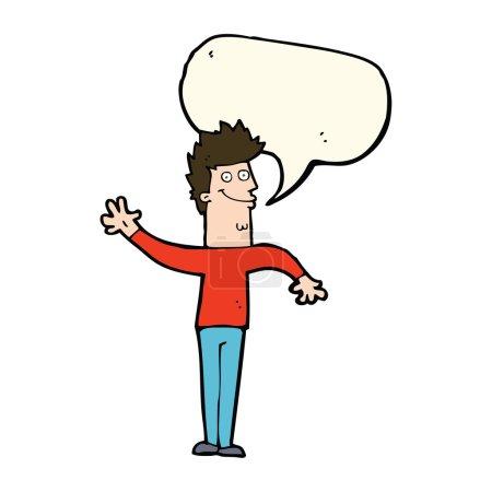 cartoon happy waving man with speech bubble