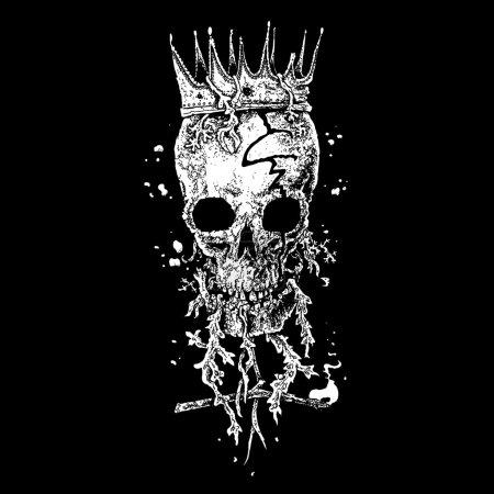 Illustration pour Crâne pirate illustration noir et blanc - image libre de droit