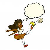 cartoon female soccer player kicking ball with thought bubble