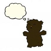 Cartone animato orsetto con bolla di pensiero