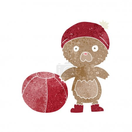 Cartoon bear in hat with ball...